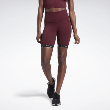 Women Studio Burgundy Studio Bike High-Intensity Shorts