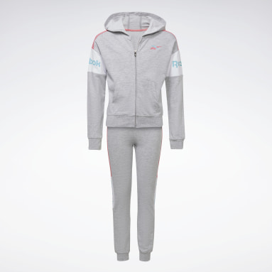Girls Fitness & Training Grey Two-Piece Reebok Classic Full-Zip Hoodie and Joggers Set