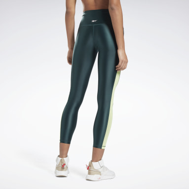 Women Studio Green Shiny High-Rise Leggings