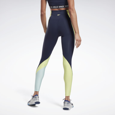 Frauen Studio Les Mills® High-Rise Colorblock Lux Leggings Blau