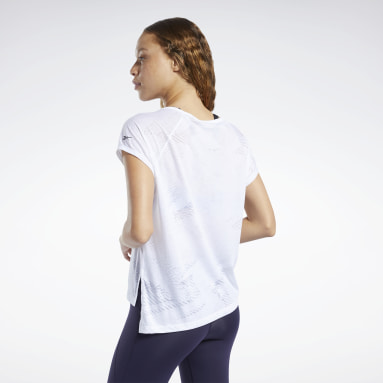 Women Yoga White Burnout Tee