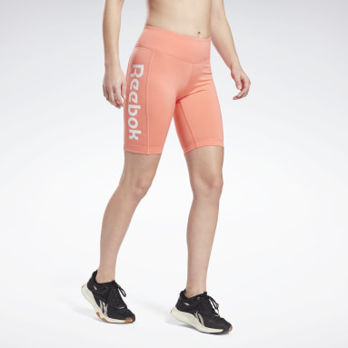 Women Cycling Red Linear Logo Fitted Shorts