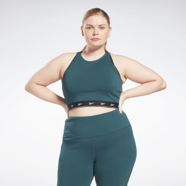 Frauen Radfahren Beyond the Sweat Crop Top (Plus Size) Grün