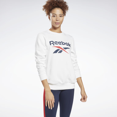 Women Training White Reebok Identity Logo French Terry Crew Sweatshirt