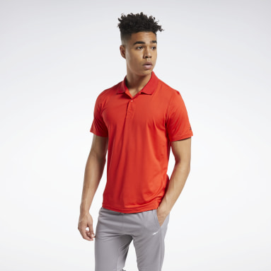 Men Training Red Workout Ready Polo Shirt