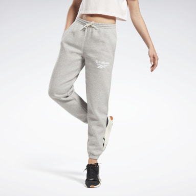 Women Fitness & Training Grey Reebok Identity Logo Fleece Pants