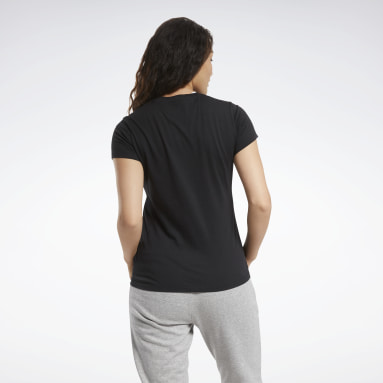 Women Fitness & Training Black Training Essentials Stacked Logo Tee