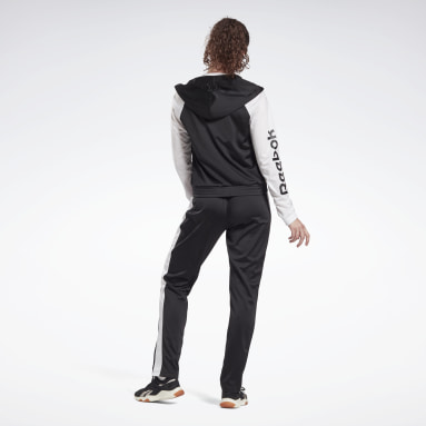 Women Fitness & Training Black Linear Logo Tracksuit