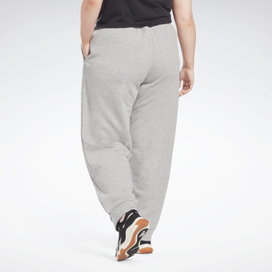 Women Fitness & Training Grey Reebok Identity French Terry Pants (Plus Size)