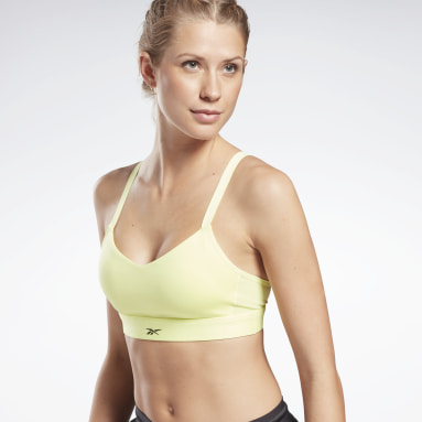 Women Studio Yellow Lux Strappy Medium-Impact Sports Bra