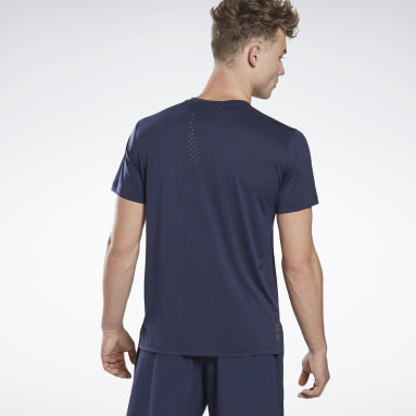 Men Cycling Blue LES MILLS® Perforated T-Shirt