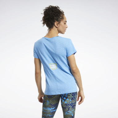 Women Fitness & Training Blue Reebok CrossFit® Games ACTIVCHILL+COTTON Tee