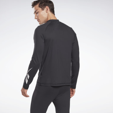 Men Hiking Black Thermowarm Touch Graphic Base Layer Long-Sleeve Top