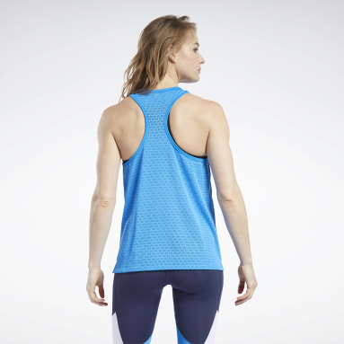 Women Training Blue Perforated Tank Top
