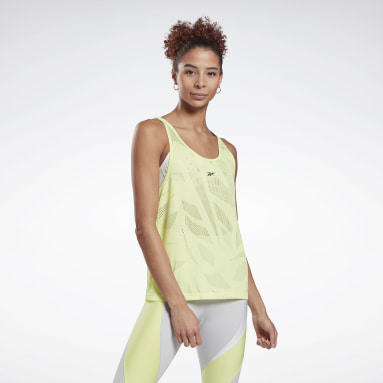 Women Training Yellow Perforated Tank Top