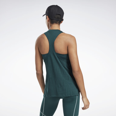 Women Training Green Burnout Tank Top