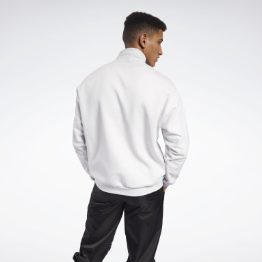 Men City Outdoor White MYT Quilted Half-Zip Jacket