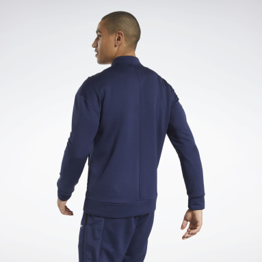 Men Fitness & Training Blue Speedwick Layering Track Top