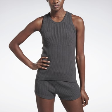 Women Fitness & Training Grey VB Knitted Tank Top