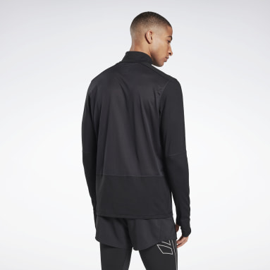 Men Running Black Running Essentials Quarter-Zip Top