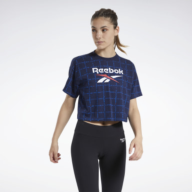 GRID TEE CROPPED Azul Mujer Classics