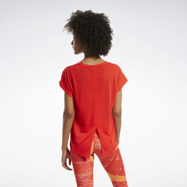 Women Fitness & Training Red Workout Ready Supremium Detail Tee
