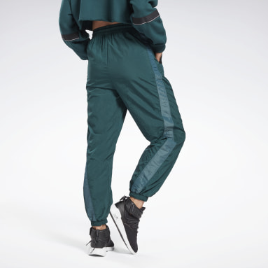 Women Studio Green Shiny Woven Pants
