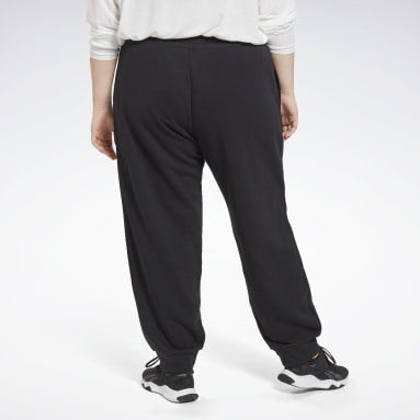 Women Fitness & Training Black Reebok Identity French Terry Pants (Plus Size)