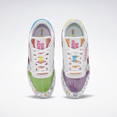 Kids Classics White Candy Land Classic Leather Shoes - Grade School