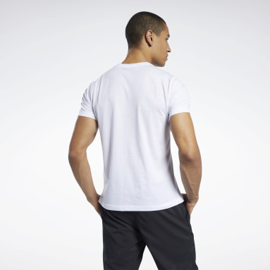 Men Fitness & Training White Graphic Series Linear Logo Tee