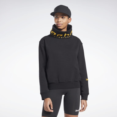Women Fitness & Training Black VB Cowl Sweatshirt