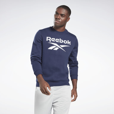 Men Fitness & Training Blue Reebok Identity Fleece Crew Sweatshirt