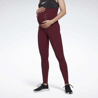 Women Studio Burgundy Reebok Lux Maternity Tights 2.0
