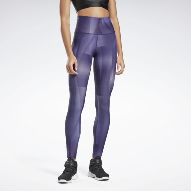 Women Studio Purple Lux Bold High-Rise Vector Block Tights