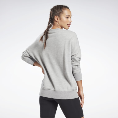 Women Fitness & Training Grey Textured Crew Sweatshirt
