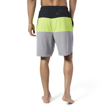 Men Swim Black Colorblock Tab Volley Shorts
