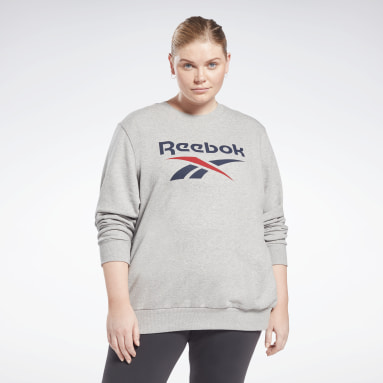 Women Training Grey Reebok Identity Logo French Terry Crew Sweatshirt (Plus Size)