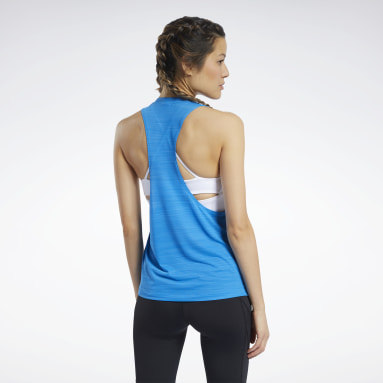 Women Cycling Blue Workout Ready ACTIVCHILL Tank Top