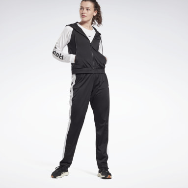 Women Fitness & Training Black Linear Logo Track Suit