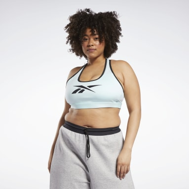 Women Studio Blue Reebok Lux Racer Medium-Impact Sports Bra (Plus Size)