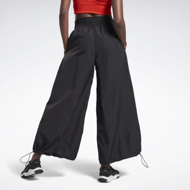 Women Studio Black Wide Leg Woven Tracksuit Bottoms