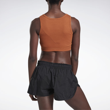 Crop Top VICTORIA BECKHAM Ribbed Café Mujer Fitness & Training