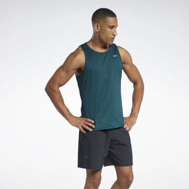 Men Running Green Running Essentials Singlet