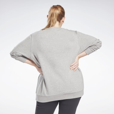 Women Fitness & Training Grey Reebok Identity Logo French Terry Crew Sweatshirt (Plus Size)