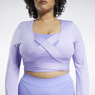 Women Classics Purple Cardi B Long Sleeve Crop Top (Plus Size)