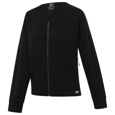 Women Fitness & Training Black TS Full-Zip Coverup - LM
