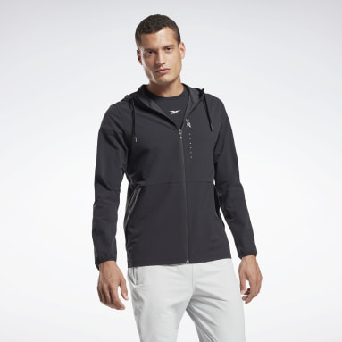 Men Training Black Performance Zip Up Hoodie