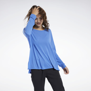 Women Hiking Blue Workout Ready Supremium Tee