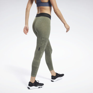 Women HIIT Green United By Fitness MyoKnit Seamless 7/8 Tights
