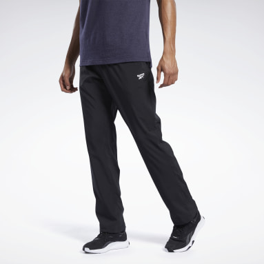 Men Outdoor Black Training Essentials Woven Open Hem Pants